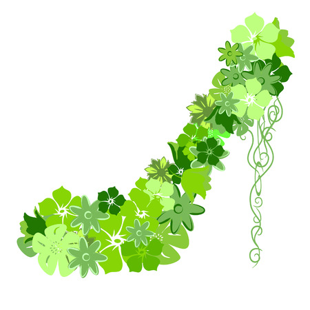 Shoes from the green flowers, located on a white background Vector