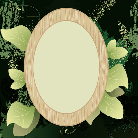 Framework for a photo with green leaves Vector