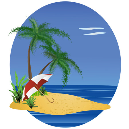 frond: The image of a beach with an umbrella and a palm tree.