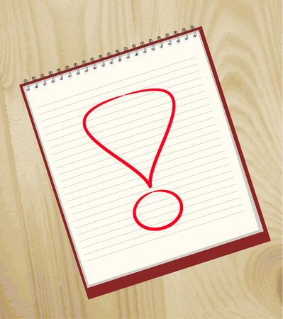 Exclamation mark drawn in an open notebook Vector