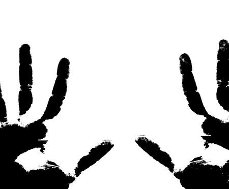 vieze handen: Zwarte afdrukken van handen op een witte achtergrond