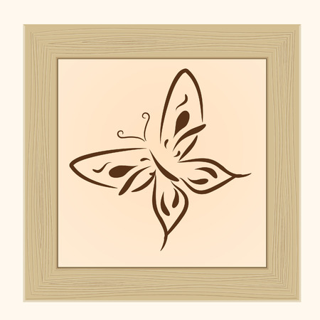 Framework with the butterfly, isolated on a white background  Vector