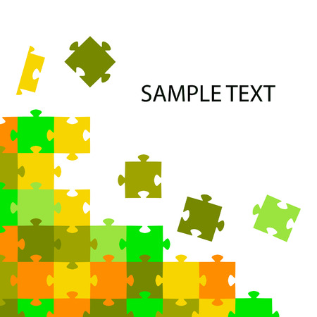 Multi-coloured puzzles on a white background.