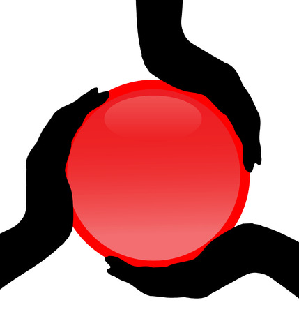Three silhouettes of a hand holding the red button Vector