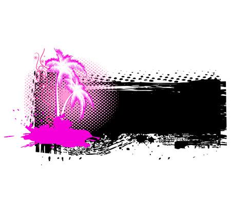 Grunge palm tree on black banner.  Vector