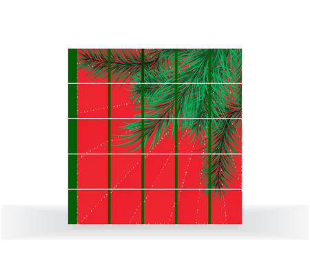 hollyday: Red background with a pine, collected from cubes