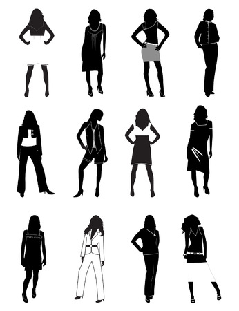 Silhouettes of women in a fashion. Stock Vector - 7270627