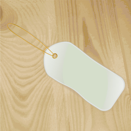 Label lying on a wooden surface. illustration Vector