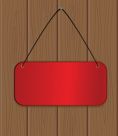 The red banner hanging on a wooden wall. Stock Vector - 7305692