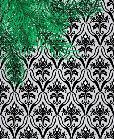Branches of a pine against a wall with wallpaper.  Stock Vector - 7305781