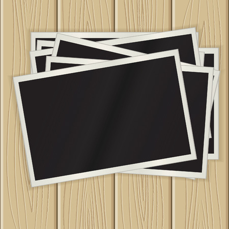photo backdrop: Photos on a wooden surface. eps10