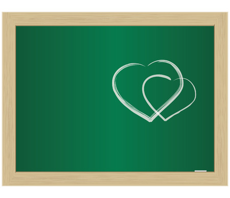 School Blackboard with the hearts drawn by a chalk. Vector