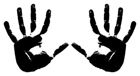 vieze handen: Zwarte afdrukken van twee handen op een witte achtergrond