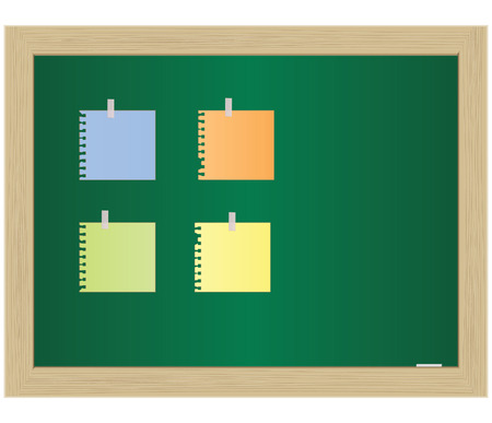 The empty paper attached to a school board. Vector