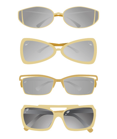 wayfarer: Collection of glasses with a gold frame