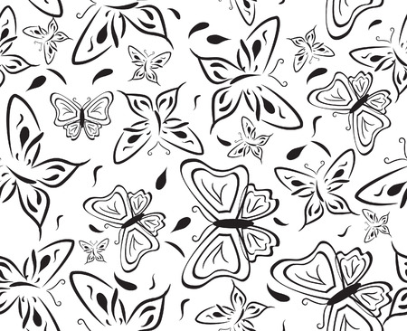 Seamless a background with black butterflies.   Vector