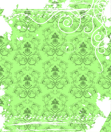 Floral pattern with grunge frame. Stock Vector - 7742553