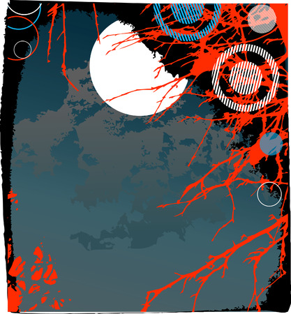Halloween background with the moon and a tree Stock Vector - 7933674