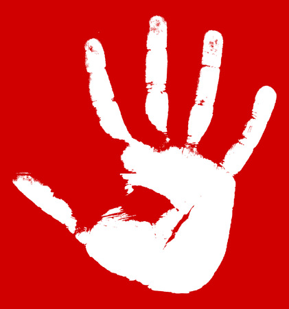 Hand print on a red background.  illustration