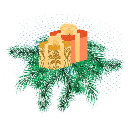 Christmas banner with pine branches and boxes with gifts Stock Vector - 8199192