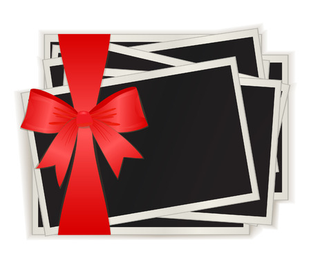 The photos which have been tied up by a red ribbon, isolated on a white background.   Vector