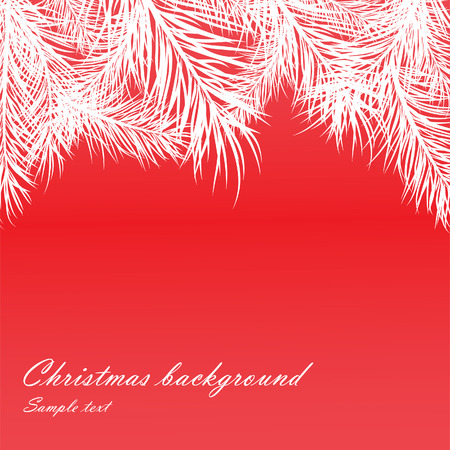 Red Christmas background with fur-tree branches.  illustration Vector