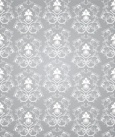 black and silver: Seamless floral pattern.   illustration Illustration
