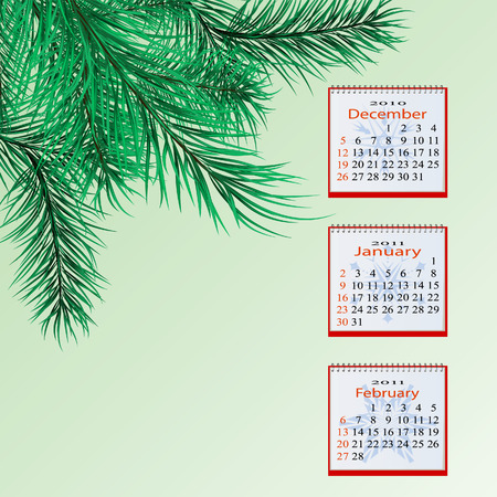 Winter calendar for a green background with pine branches.   Vector