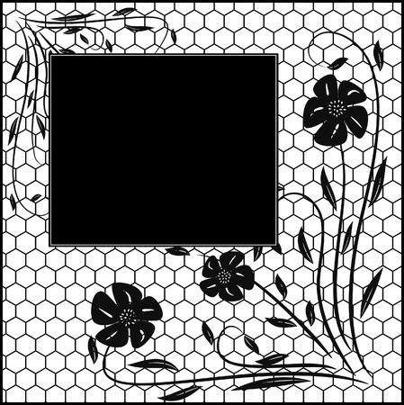 free place: Floral vintage frame.  illustration Illustration
