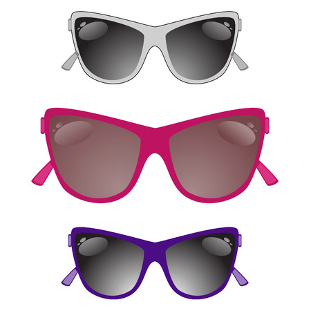 Set of sun glasses on a white background.