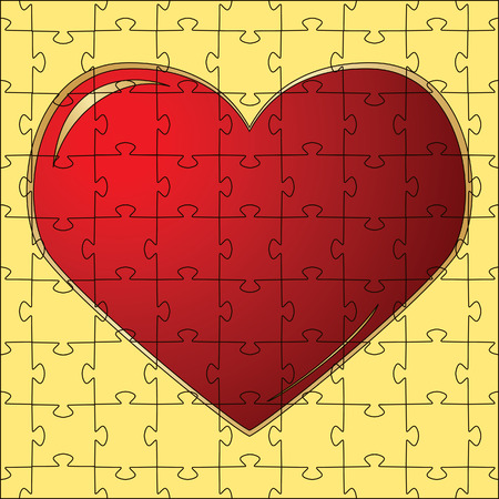 The red heart collected from puzzles.  illustration Vector
