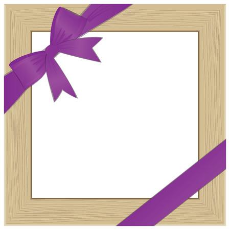 Framework for photo with violet bow.  illustration Vector