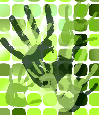 Grunge background with hand prints on squares.  illustration  Vector