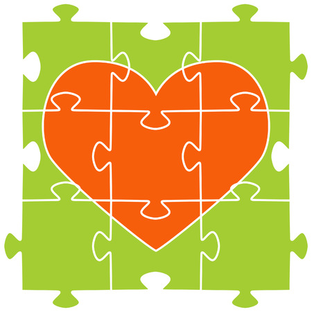 missing puzzle piece: The orange heart collected from puzzles on a green background