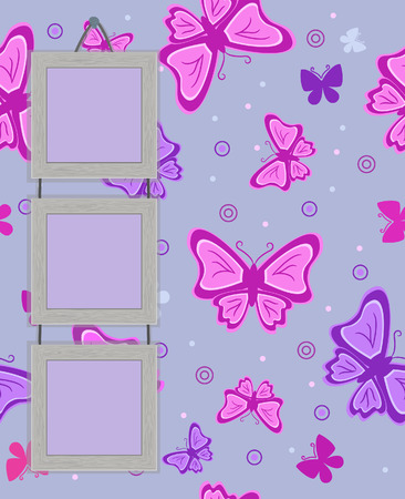 Framework for photo on vintage background with butterflies.   Vector