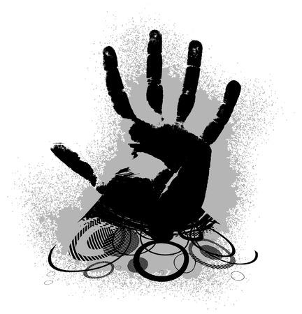 Hand print in style grunge. illustration Illustration