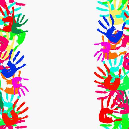 Grunge seamless frame from prints of hands.  illustration Vector