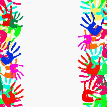 Grunge seamless frame from prints of hands.  illustration