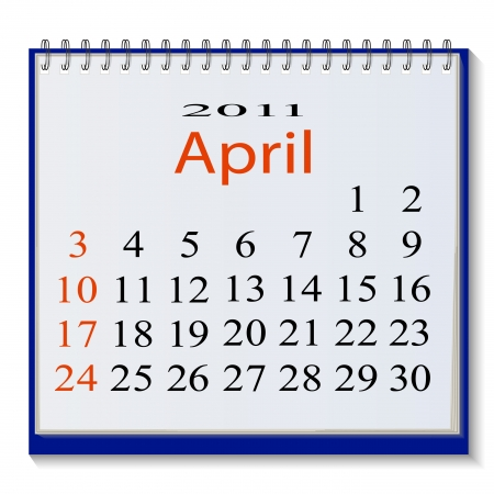 The vector image of a calendar for April, 2011. Vector illustration Vector