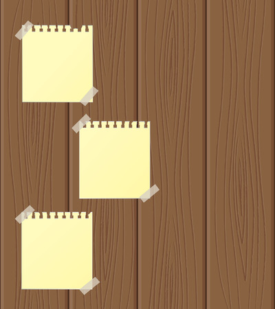 Empty sheets of paper attached to wooden structure. Vector illustration Stock Vector - 8891384