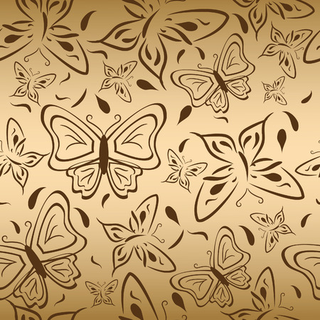 backgruond: Seamless gold backgruond with butterflies. Vector illustration Illustration