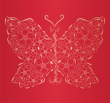 stylize: Figured gold butterfly on  red background. Vector illustration
