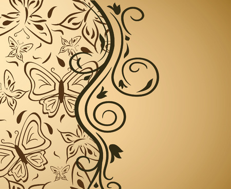 Floral gold background with butterflies. Vector illustration Illustration