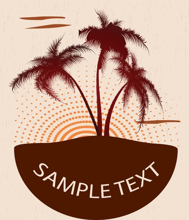 Grunge banner with palm trees. Vector illustration