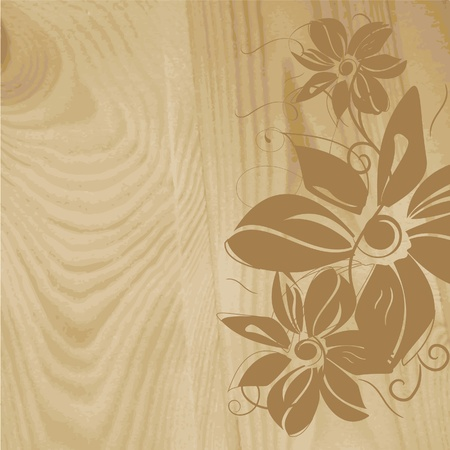 Wooden structure with flower pattern. Vector illustration Vector
