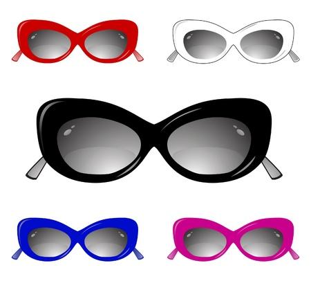 Collection of glamour sun glasses. Vector illustration Illustration