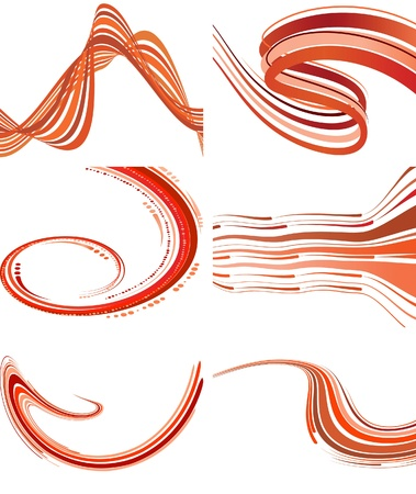 Set of backgrounds with red waves. Vector illustration Stock Vector - 9116015