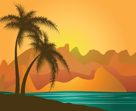 Palm trees against mountains and the sea. Vector Vector