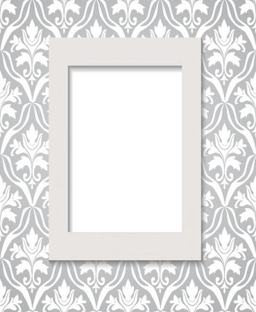 baroque room: Empty framework against wallpaper Illustration