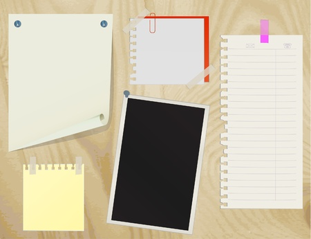 drawing pin: Collection of various note papers on an old wooden board. vector